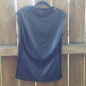 BCBGMaxAzria Black Faux Leather Top Sz. Small